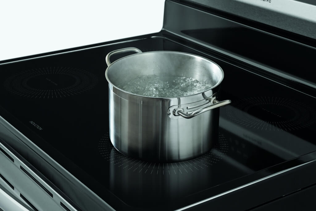 Frigidaire Induction Cooktop With Pot of Water Boiling