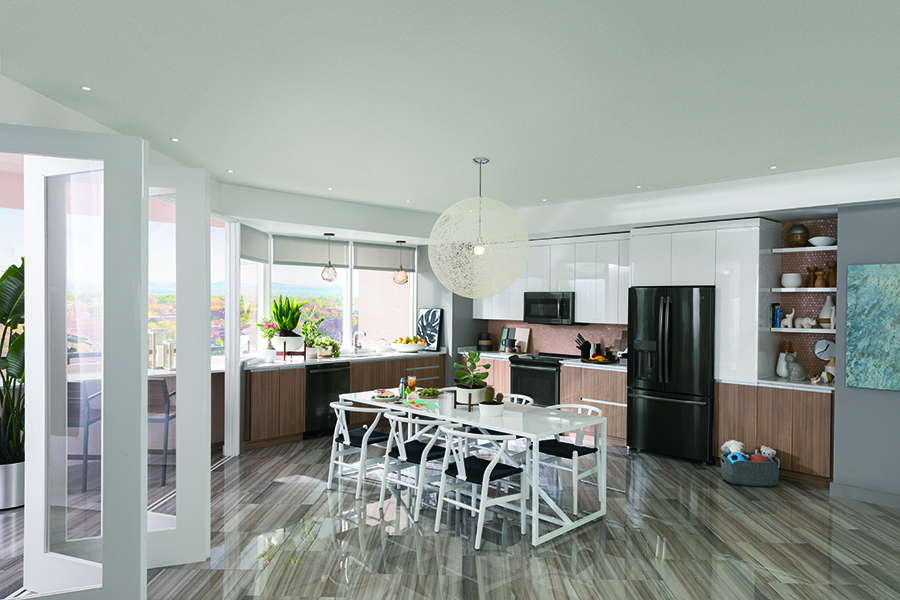 kitchen with GE black stainless steel appliances