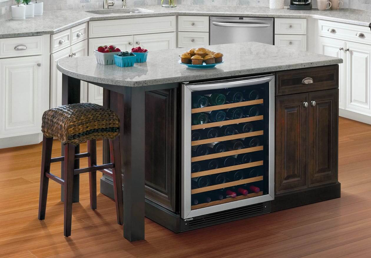kitchen with an under-island wine cooler
