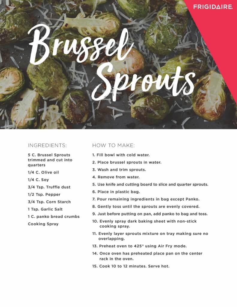 Brussels Sprouts Air Fryer Recipe Card from Frigidaire